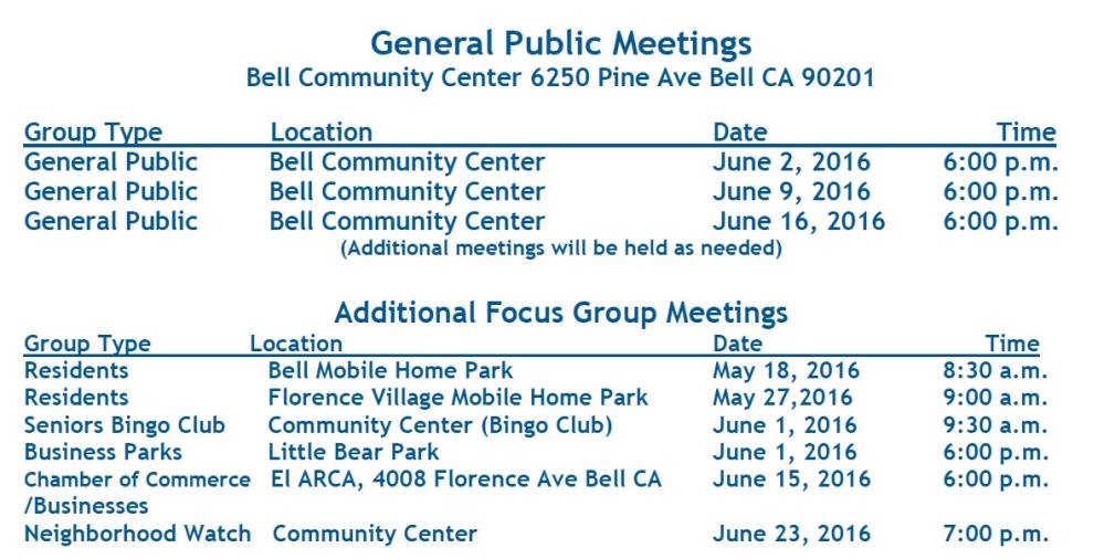 Meeting Schedules Mobile Home Park